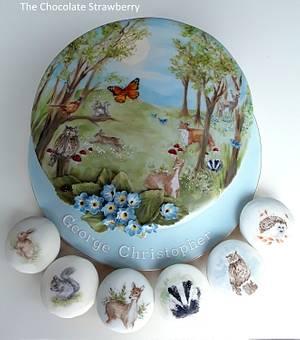 Woodland Animal Painted Christening Cake - Cake by Sarah Jones