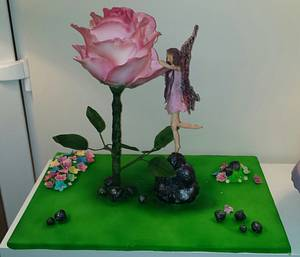 All Things Nice Collaboration.  Large rose and fairy cake  - Cake by My Darlin Cakes