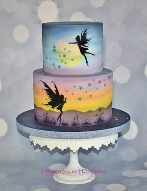 Fairy Fantasy Silhouette cake . - Cake by LenkaSweetDreams