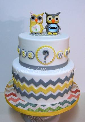 Guess Whoo Gender Reveal Cake - Cake by Stephanie