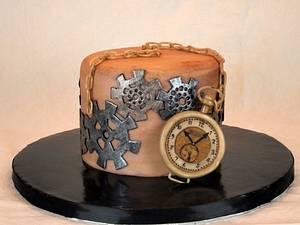 Gears & Pocketwatch - Cake by Cakes By Kristi