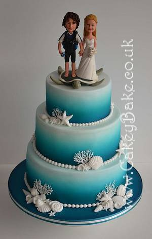 Airbrushed Sea Themed Wedding Cake - Cake by CakeyBake (Kirsty Low)