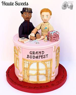 The Grand Budapest Hotel cake (Zero & Agatha) for Be My Valentine! Movie Nights collaboration - Cake by Hiromi Greer