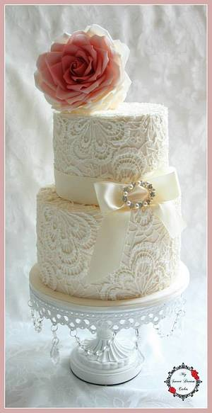 Hand Piped Lace Wedding Cake - Cake by My Sweet Dream Cakes
