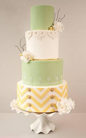 Lemon & Lime Chevron Wedding Cake - Cake by tortacouture