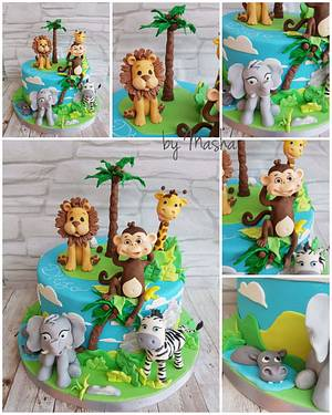 Happy jungle friends - Cake by Sweet cakes by Masha