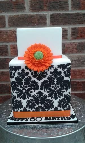 Jacquard Gerbera cube cake - Cake by Karen's Kakery