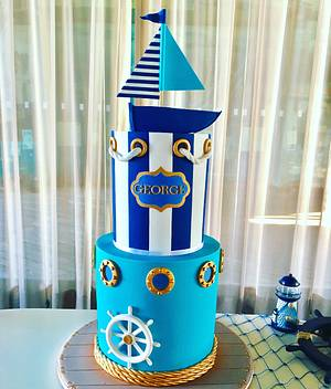 Nautical christening/BD cake - Cake by Ritzy