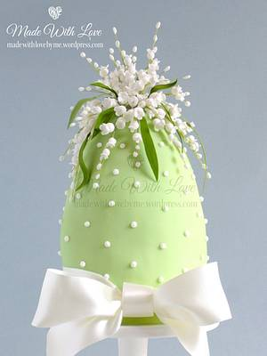 Lily of the Valley Easter Egg Cake - Cake by Pamela McCaffrey