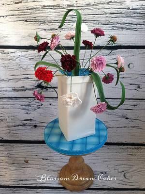 Pot of Carnations - Cake by Blossom Dream Cakes - Angela Morris