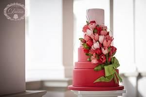 Sugar tulips wedding cake - Cake by Cofetaria Dana