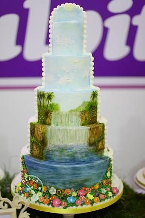 Tropical Waterfall Cake - Cake by Inga Ruby Cakes (formerly Bella Baking)