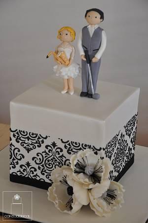 Black and white wedding Cake - Cake by Cakeadaisical