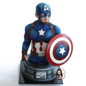 Captain America Cake  - Cake by Inspired Cakes - by Amy