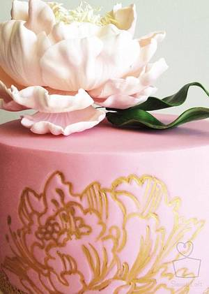 Pink Peony Cake - Cake by Heidi