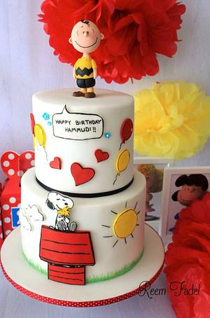 Snoopy/Charlie Brown cake - Cake by ReemFadelCakes