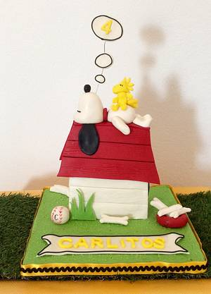 Snoopy Birthday Cake  - Cake by DulcesSuenosConil