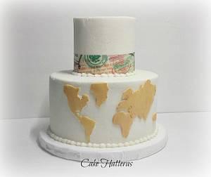World Traveler Wedding Cake - Cake by Donna Tokazowski- Cake Hatteras, Hatteras N.C.