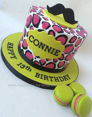 Pink Leopard Print & Lime Moustache Cake - Cake by Cupcakes by Amanda