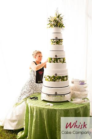My very own wedding cake! Put it together in my wedding dress - Cake by Whisk Cake Company