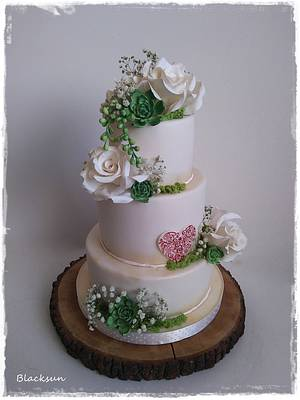 Wedding roses and succulents - Cake by Zuzana Kmecova
