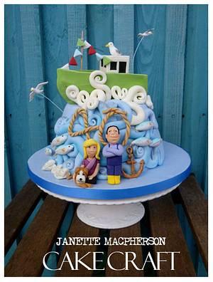 Fishermans 40th Anniversary cake - Cake by Janette MacPherson Cake Craft