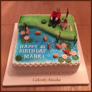 Fisherman & Dog Cake! - Cake by CakesbyAnusha