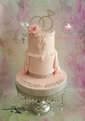 Pink engagement cake - Cake by mona ghobara/Bonboni Cake