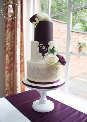 Mulberry & cream wedding cake - Cake by Kerry's Cakes and Treats