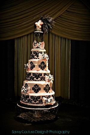 Damask Quinceanera - Cake by Alissa Newlin