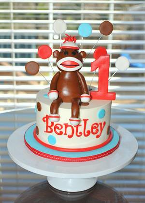 Sock Monkey Smash Cake - Cake by Hope Crocker