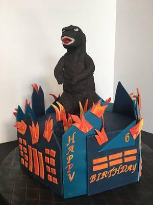 Godzilla Birthday Cake  - Cake by Pinkvelvet