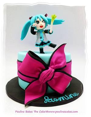 "Kawaii ""Po Pi Po"" Hatsune Miku For Jasmine! - Cake by Pauline Soo (Polly) - Pauline Bakes The Cake!"