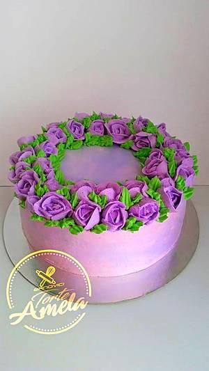 purple roses cake - Cake by Torte Amela