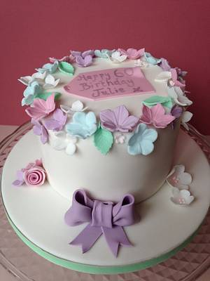 Simple 60th floral cake - Cake by Sally Jane Cake Design