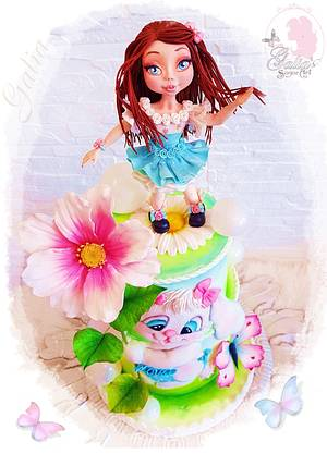 Cake with Doll and 2 D Bunny - Cake by Galya's Art