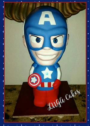 Captain America sculpted cake - Cake by Luga Cakes