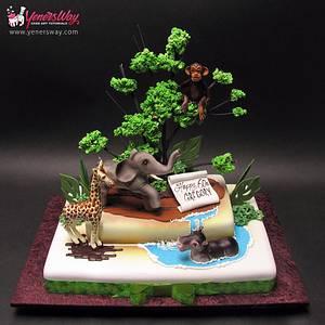 Jungle Theme Birthday Cake - Cake by Serdar Yener | Yeners Way - Cake Art Tutorials
