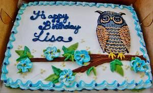 Owl buttercream sheet cake - Cake by Nancys Fancys Cakes & Catering (Nancy Goolsby)