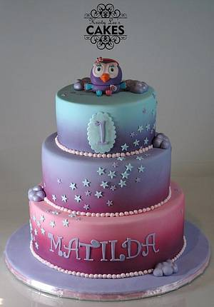 Hootabelle 3 Tier First Birthday Cake - Cake by Kristy How
