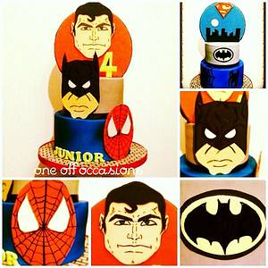 SuperHero's double sided cake - first creation of 2015! - Cake by OneOffOccasions