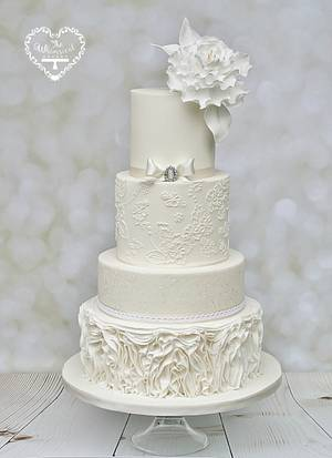 Winter White Wedding Cake - Cake by The Whimsical Cakery