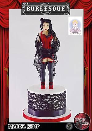 Brunette Burlesque figure - Cake by Cake Angel by Marisa Kemp