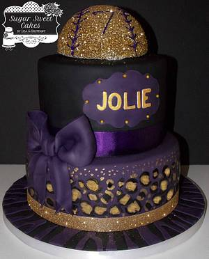 Plum & Gold ~ Leopard & Softball - Cake by Sugar Sweet Cakes