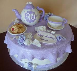 Tea Party Cake for 90th Birthday - Cake by RoscoeBakery