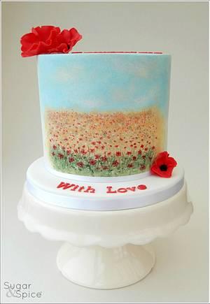Painted Poppy Fields Cake - Cake by Sugargourmande Lou
