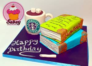 Book and coffee cake  - Cake by Sabsy Cake Dreams