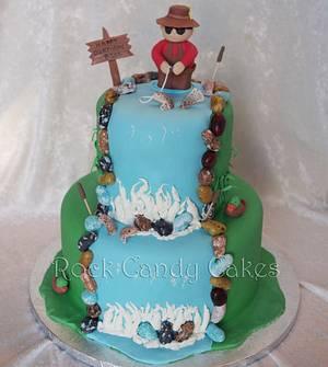 Fisherman Waterfall Birthday Cake - Cake by Rock Candy Cakes